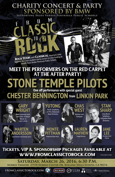 From Classic to Rock�, a star-studded event to benefit Palos Verdes Peninsula public schools on March 26, 2016 at the Norris Theater and Pavilion in Rancho Palos Verdes, California.